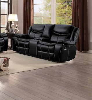 Homelegance Bastrop Black Double Glider Reclining Love Seat with Console Available Online in Dallas Fort Worth Texas