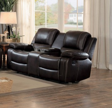Homelegance Oriolle Dark Brown Double Glider Reclining Love Seat with Console Available Online in Dallas Fort Worth Texas