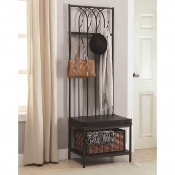 Coaster Salimd Black 4 Double Hooks Hall Tree Available Online in Dallas Fort Worth Texas