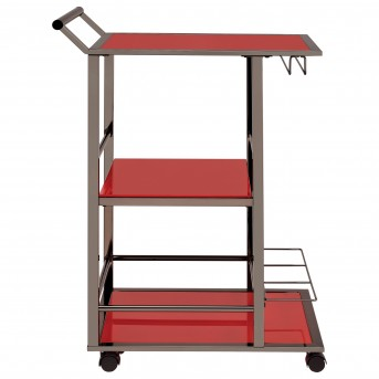 Coaster Rec Room Black Nickel and Red Serving Cart Available Online in Dallas Fort Worth Texas