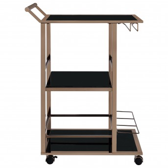 Coaster Rec Room Chocolate Chrome and Black Serving Cart Available Online in Dallas Fort Worth Texas