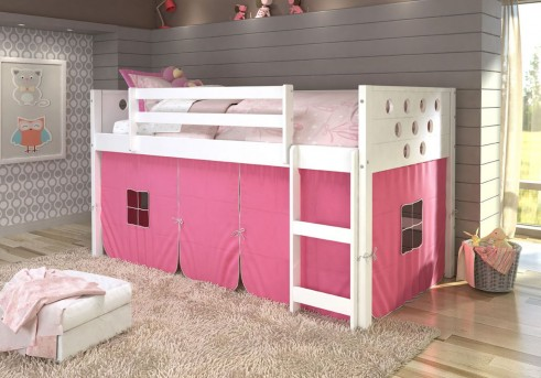 Donco Donco White Twin Loft Bed With Pink Tent Available Online in Dallas Fort Worth Texas