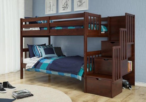 Donco Donco Dark Cappuccino Twin Twin Stairway Step Drawers Bunk Bed