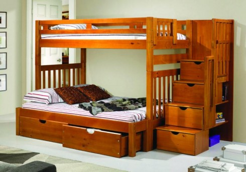 Donco Donco Honey Twin/Full Stairway Bunk Bed Available Online in Dallas Fort Worth Texas