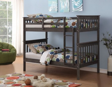 Donco Donco Brushed Grey Twin/Twin Mission Bunk Bed Available Online in Dallas Fort Worth Texas