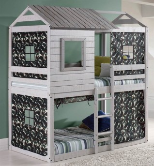 Donco Donco Light Grey Deer Blind Bunk Loft Bed With Green Camo Available Online in Dallas Fort Worth Texas