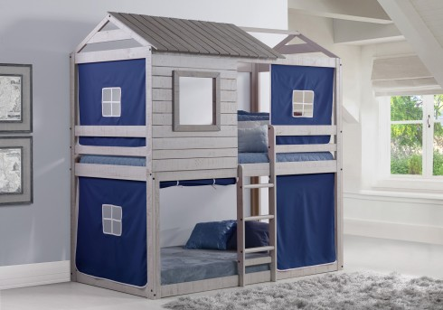 Donco Donco Light Grey Twin/Twin Bunk Bed With Blue Tent Available Online in Dallas Fort Worth Texas