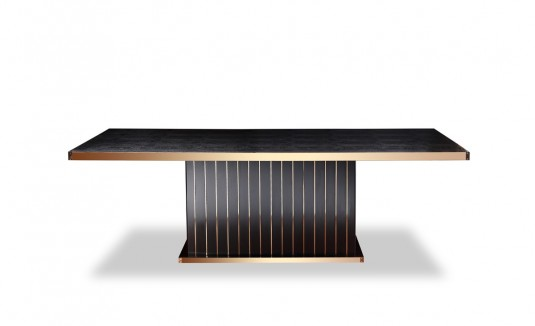 VIG A&X Talin Black Crocodile & Rosegold Dining Table Available Online in Dallas Fort Worth Texas