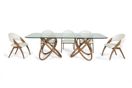 VIG Mason Glass & Walnut Dining Table Available Online in Dallas Fort Worth Texas