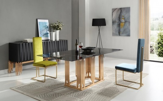 VIG Token Smoked Grey Glass & Rosegold Dining Table Available Online in Dallas Fort Worth Texas