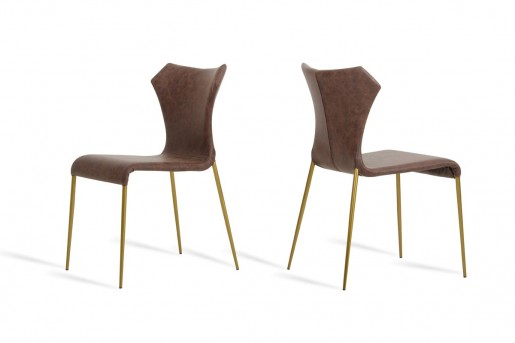 VIG Marcia Cognac & Antique Brass Dining Chair Available Online in Dallas Fort Worth Texas