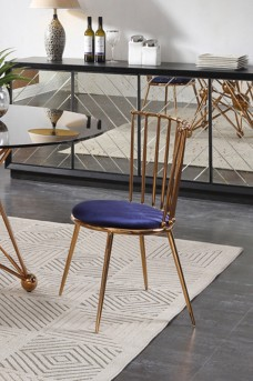 VIG Brenna Blue & Gold Dining Chair Available Online in Dallas Fort Worth Texas