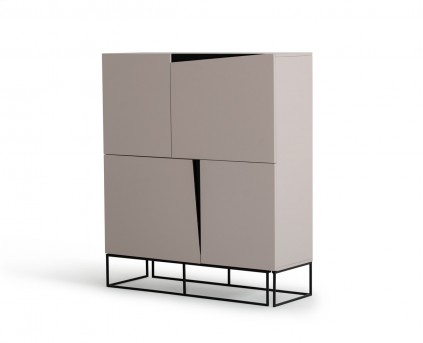 VIG Hope Grey Gloss Tall Buffet Available Online in Dallas Fort Worth Texas
