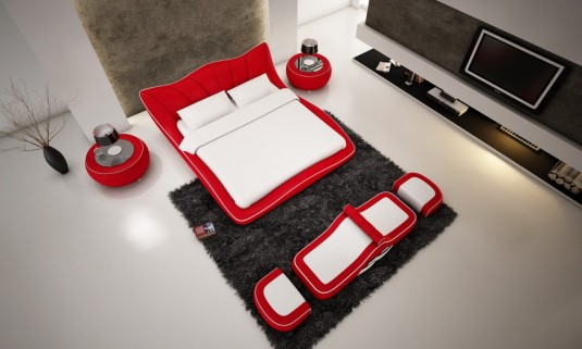 VIG Modrest J215 Red Eco-leather Bed Available Online in Dallas Fort Worth Texas