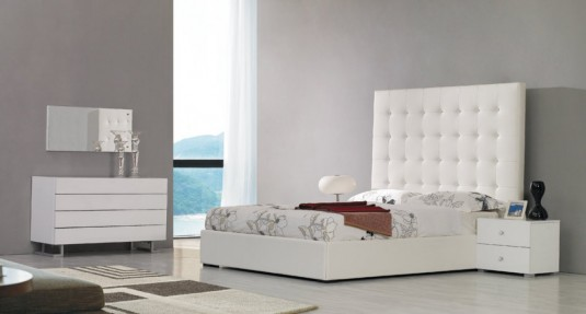VIG Lyrica White Leatherette Tall Headboard Bed Available Online in Dallas Fort Worth Texas