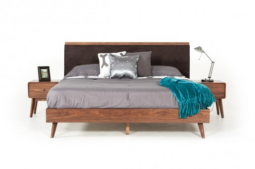 VIG Marshall Brown Fabric & Walnut Bed Available Online in Dallas Fort Worth Texas