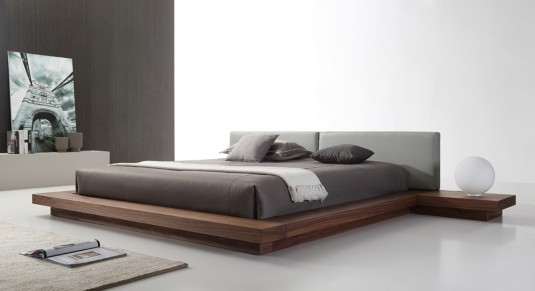 VIG Opal Walnut & Grey Platform Bed Available Online in Dallas Fort Worth Texas