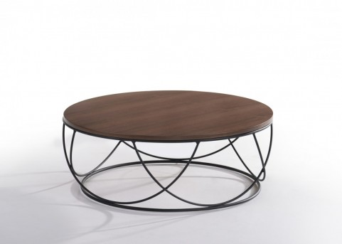 VIG Strang Walnut & Black Round Coffee Table Available Online in Dallas Fort Worth Texas