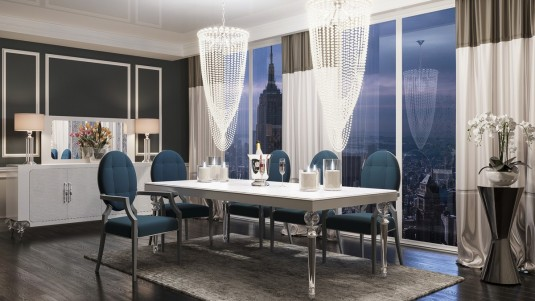 VIG A&X Baccarat White Crocodile Dining Set Available Online in Dallas Fort Worth Texas