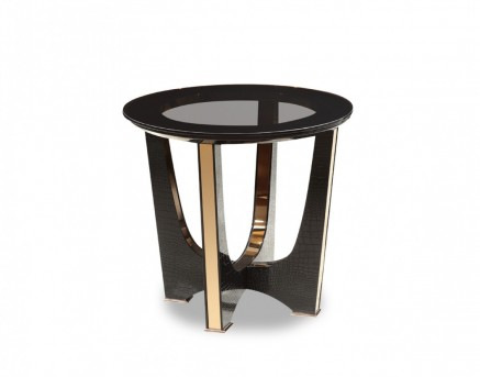 VIG A&X Talin Black Crocodile & Rosegold End Table Available Online in Dallas Fort Worth Texas
