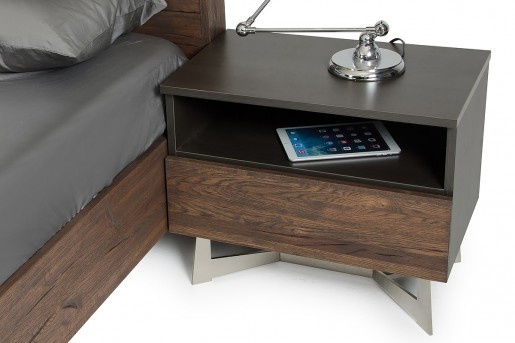 VIG Wharton Dark Aged Oak Nightstand Available Online in Dallas Fort Worth Texas