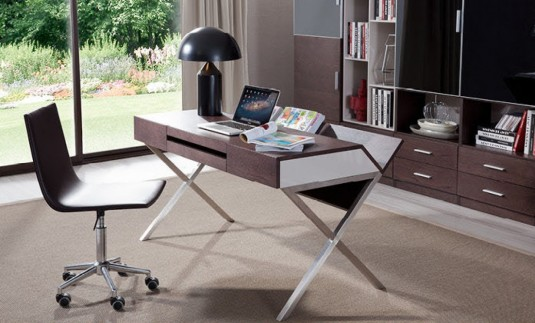 VIG Orwell Brown Oak & Grey Office Desk Available Online in Dallas Fort Worth Texas