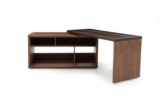 VIG Sigma Walnut & Brown Leather L-shaped Desk Available Online in Dallas Fort Worth Texas