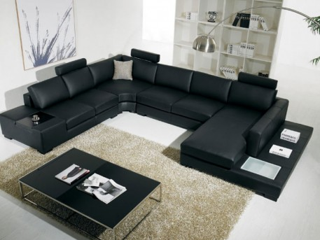 VIG Adobe Black Sectional Sofa With 3 Headrests Available Online in Dallas Fort Worth Texas