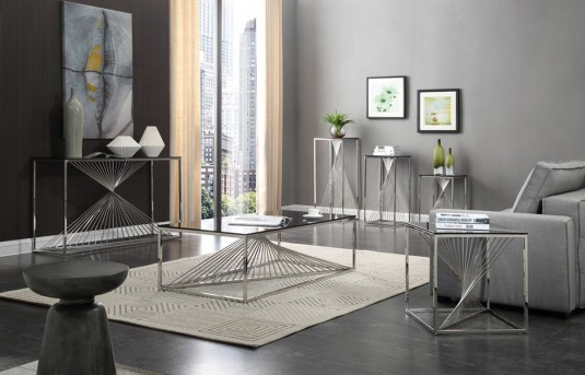 VIG Trinity 3pc Glass Coffee Table Set Available Online in Dallas Fort Worth Texas