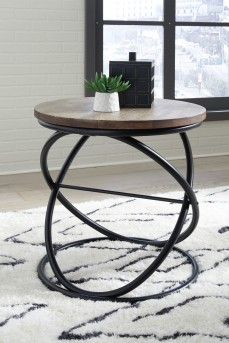 Ashley Charliburi Brown/Black Round End Table Available Online in Dallas Fort Worth Texas