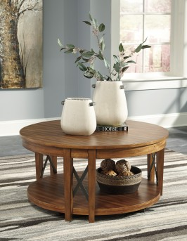 Ashley Emilander Round Coffee Table Available Online in Dallas Fort Worth Texas