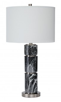 Ashley Maricela Black/White Poly Table Lamp Available Online in Dallas Fort Worth Texas