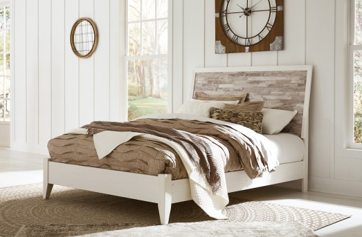 Ashley Evanni Queen Panel White Rail Footboard Combined Available Online in Dallas Fort Worth Texas