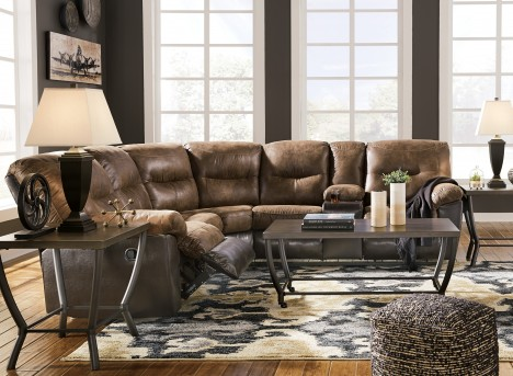 Ashley Leonberg 2pc Coffee Loveseat Sectional Available Online in Dallas Fort Worth Texas
