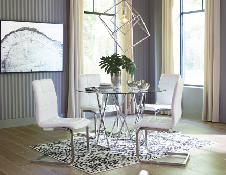 Ashley Madanere 5pc White/Chrome Dining Room Set Available Online In Dallas  Fort Worth Texas