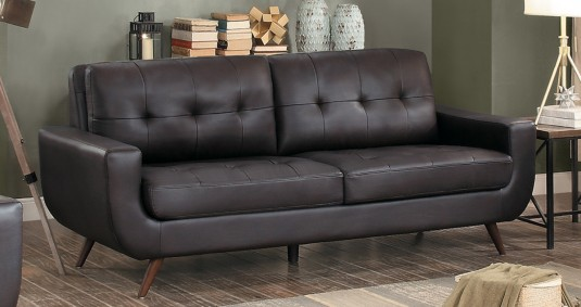 Homelegance Deryn Dark Brown Sofa Dallas TX | Living Room Sofa ...
