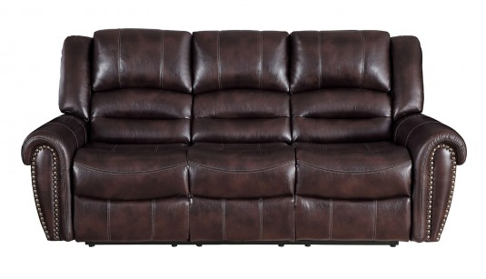 Homelegance Center Hill Dark Brown Double Reclining Sofa Available Online in Dallas Fort Worth Texas