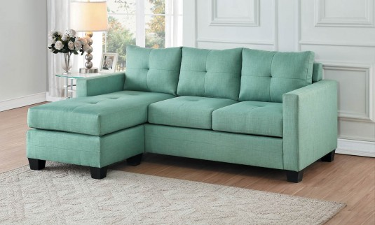 Homelegance Phelps Teal Reversible Sofa Chaise Available Online in Dallas Fort Worth Texas