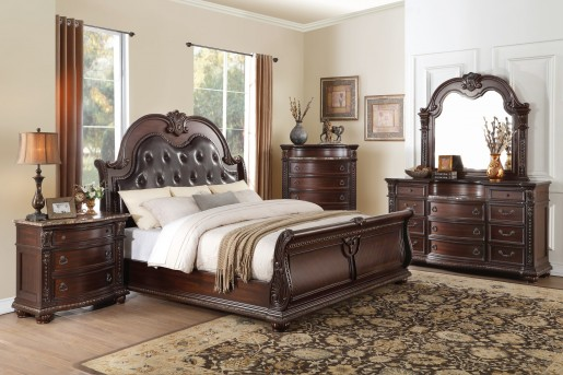 Homelegance Cavalier 5pc Cherry Queen Bedroom Group Available Online in Dallas Fort Worth Texas