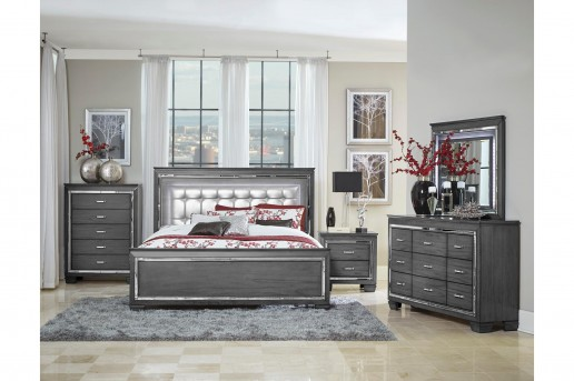 Homelegance Allura 5pc Grey Queen Bedroom Group Available Online in Dallas Fort Worth Texas