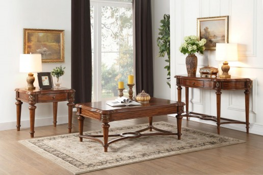 Homelegance Barbary 3pc Cherry Coffee Table Set Available Online in Dallas Fort Worth Texas