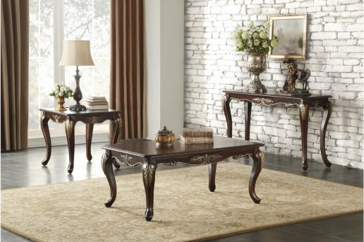 Homelegance Croydon 3pc Cherry Coffee Table Set Available Online in Dallas Fort Worth Texas