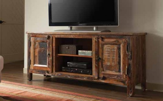 Coaster San Martin Rustic Oak TV Console Available Online in Dallas Fort Worth Texas