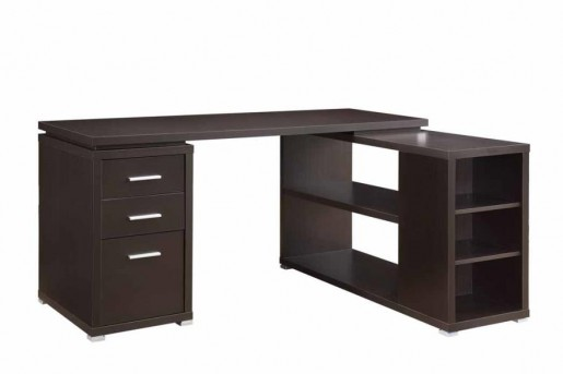 Coaster Yvette Cappuccino L Shape Desk Available In Dallas Fort Worth Texas