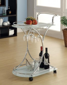 Coaster Frosted Chrome Serving Cart Available Online in Dallas Fort Worth Texas