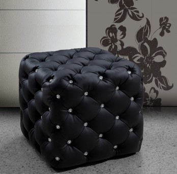 VIG Divani Casa Nina Black Eco-leather Pouf With Crystals Available Online in Dallas Fort Worth Texas