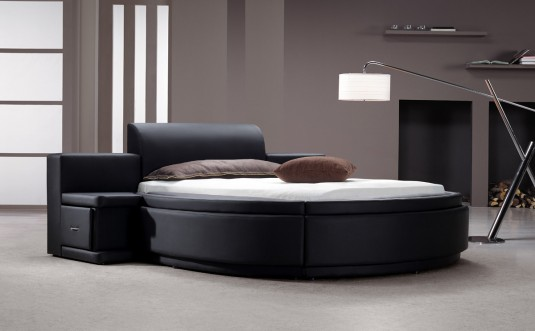VIG Owen Black Leatherette Round Bed With Storage Available Online in Dallas Fort Worth Texas