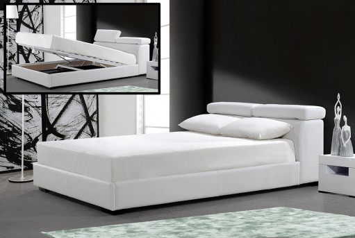 VIG Logan White Leatherette Bed With Storage Available Online in Dallas Fort Worth Texas