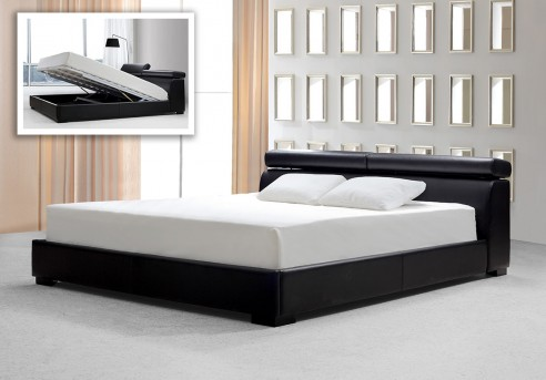 VIG Logan Black Leatherette Bed With Storage Available Online in Dallas Fort Worth Texas