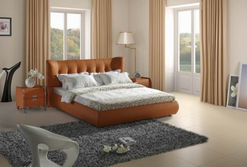 VIG Modrest Orange Tufted Leatherette Bed Available Online in Dallas Fort Worth Texas
